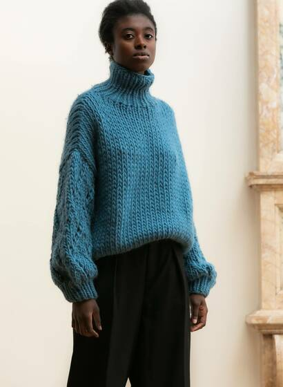 Chunky Lace Jumper, blue