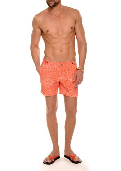 Nylon Swim Shorts, Orange Sunset/White Print