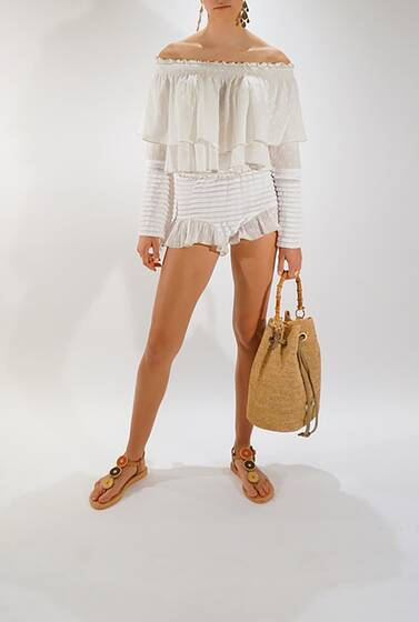 Knit Shorts with Ruffle Detail