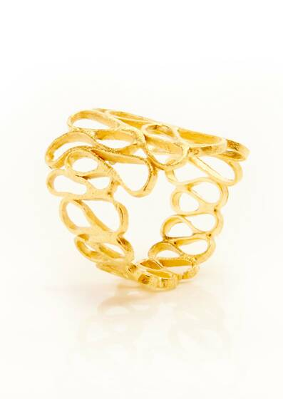 Golden Lace Ring, gold plated, 18-carat, Yellow gold
