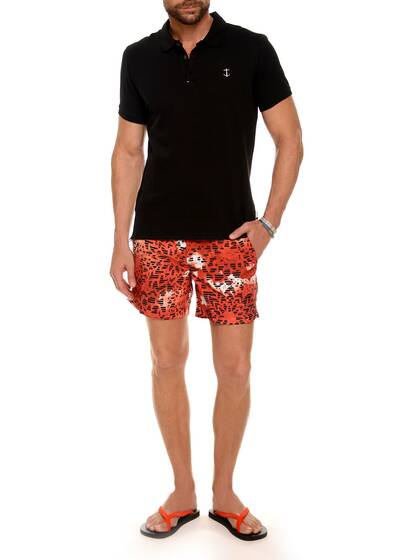 Nylon Swim Shorts in Red Print