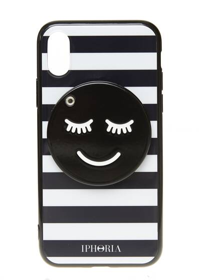 I-Phone X Case – Striped Smiley with Mirror for Apple