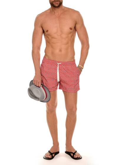 Nylon Swim Shorts in Red and White Print