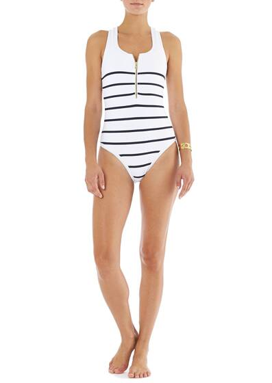 Swim Suit/One Piece Racer Back with Core Nautical Textured Binding