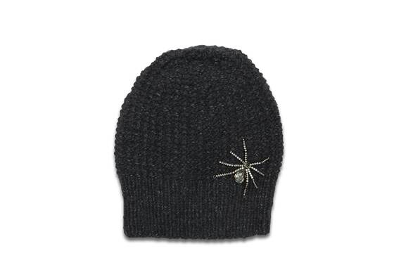 Hat, charcoal with Swarovski 'Spider'