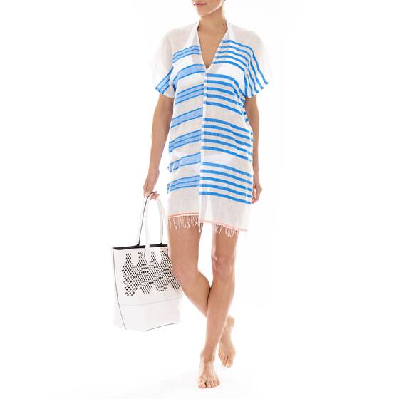 Cover-Up Caftan Zare Split, Cotton-Blend Gauze, Striped White/Blue