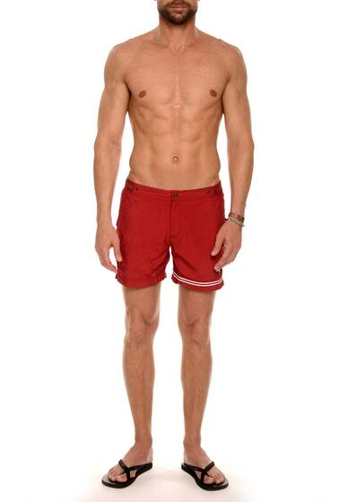 Swim Shorts Nylon in Red / Ruby with White Stripe