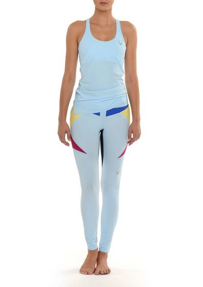 Molten stretch leggings, light blue, colour block look