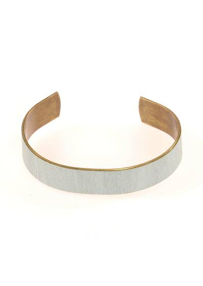 Light Blue Bracelet Made of Wood and Brass