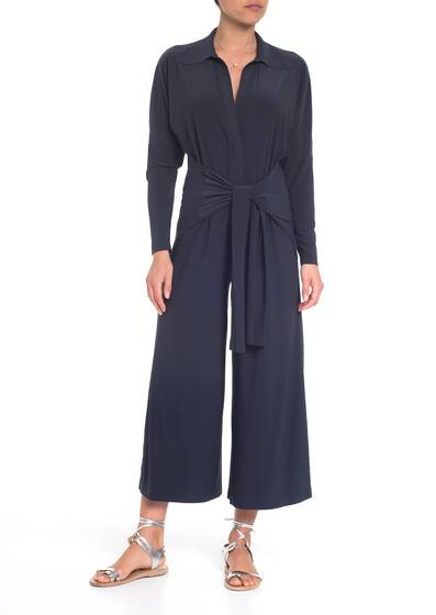 Jumpsuit Ty Front NK Shirt Cropped Straight Leg, pewter