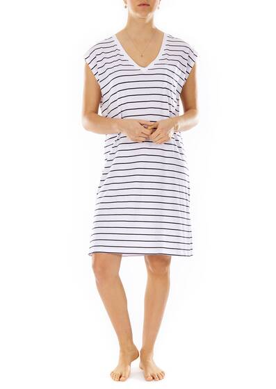 Afton Short Caftan Gown navy stripe