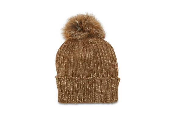 Knitted Hat with Pom Pom and golden Lurex