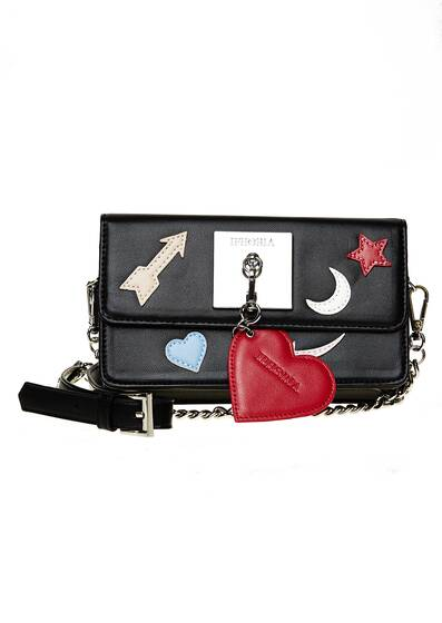 Micro Shoulder / Belt Bag - Plate Icons Black with Charm