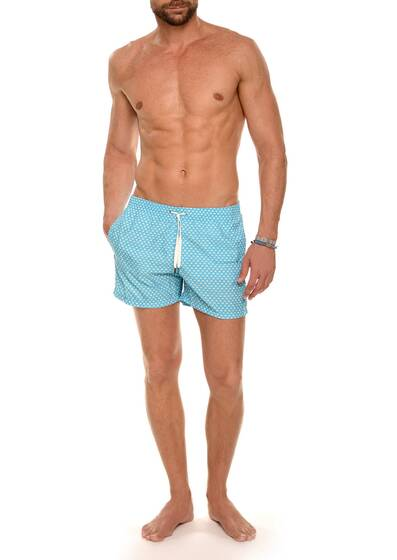 Swim Shorts Nylon in Turquoise and White Print