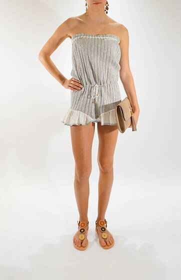 Silver Lurex Knit Romper with Cotton Ruffle Detail Shorts & Lace Trim