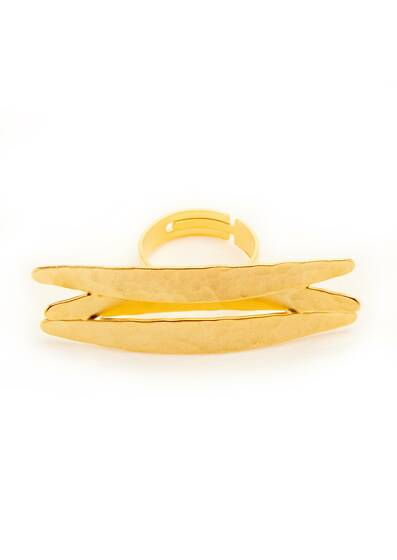 Golden Horizontal Koyo Ring, gold-plated, 18-carat gold, Yellow Gold