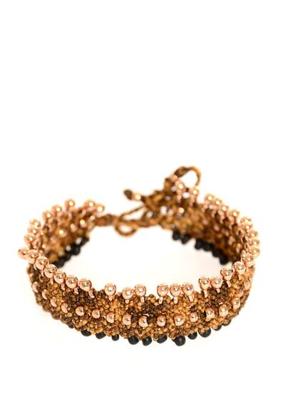 """Kate"" Anklet Black Beads, Golden Version"