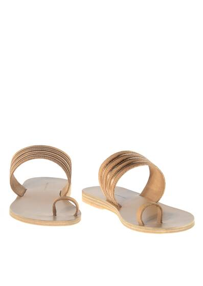 Sandals Rainbow Ledersandale Tan/Rose Metal