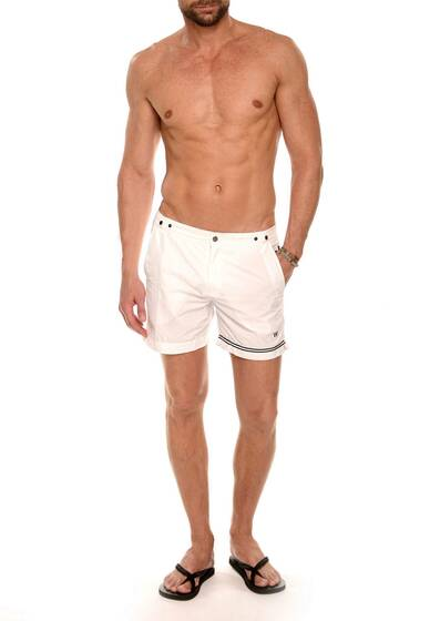 Nylon Swim Shorts in White / White with Black Stripe