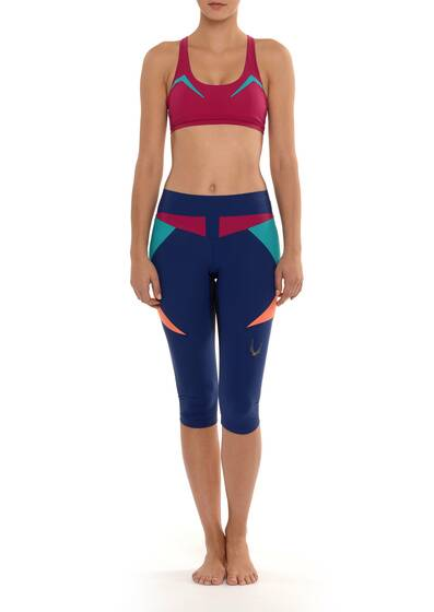 Paragon Stretch Capri Leggings, blue, multi-coloured block look