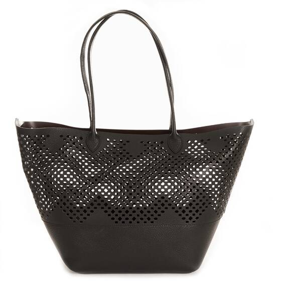 Beach Bag Charo Tote, Black with Lasercutting Details