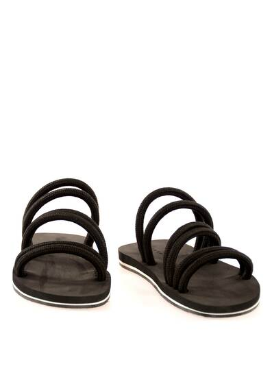 Sandals with Black Linen Cord and Dark Brown Soles