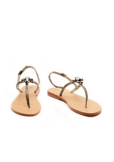 Sandal with Black Swarovski Stones Natural/Hem