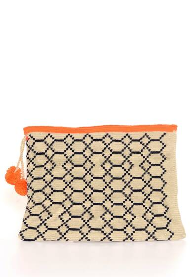 Lia 2 Clutch/Pouch, crocheted cotton