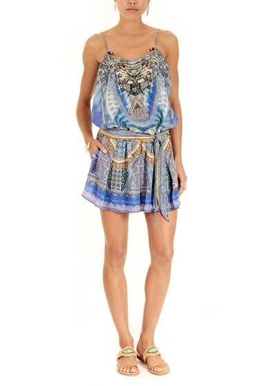 "Playsuit ""Palace of Dreams""  verziert aus Seide mit Print"