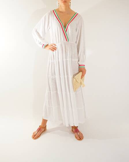 Boho Dress in white with long sleeves