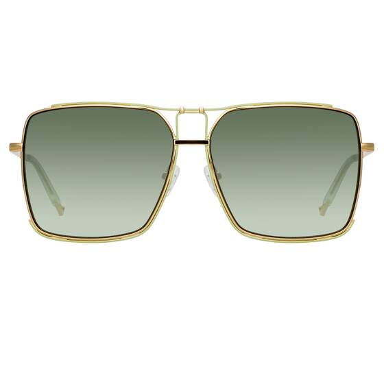 Peony Square Sonnenbrille in Gelbgold - Matthew Williamson x Linda Farrow