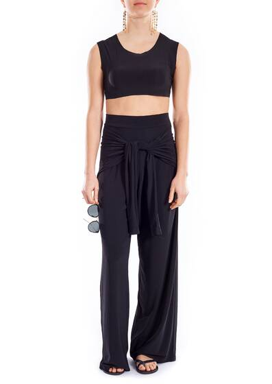 Hose Ty Front All In One Straight Leg Pant, schwarz
