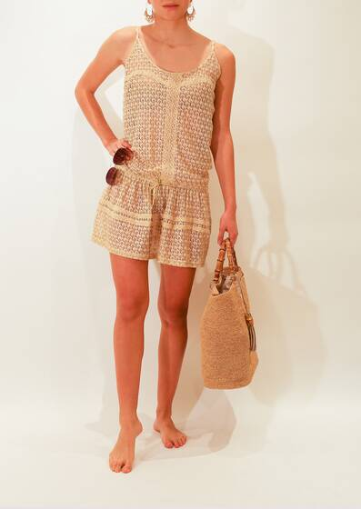 Mini Dress Khloe in Crochet Knit