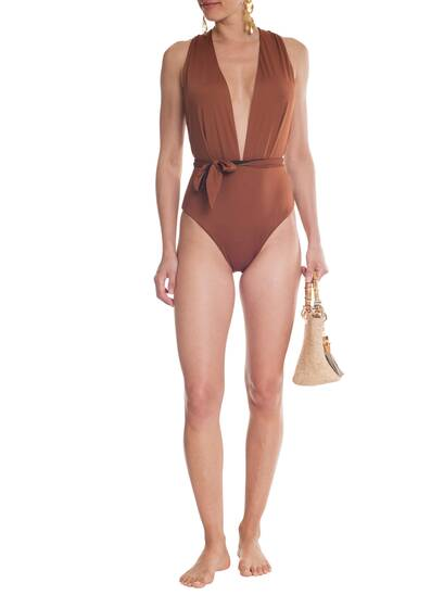Swimsuit, cognac/black